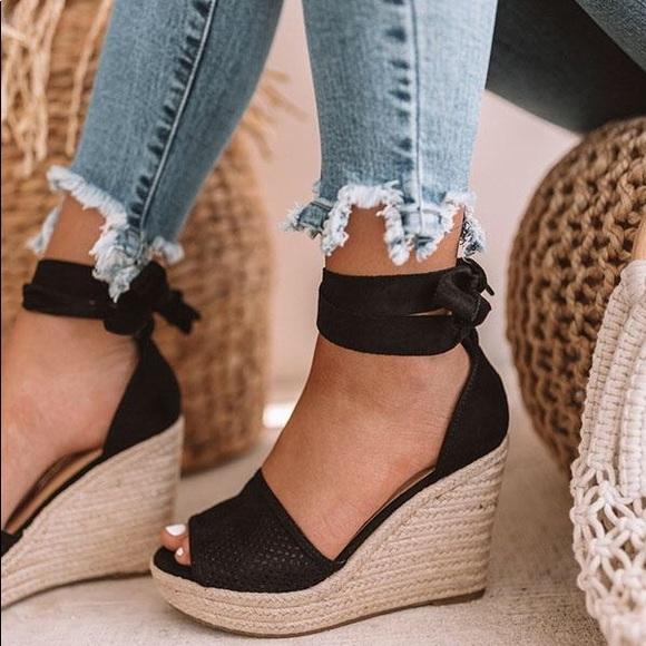 Black Espadrille Ankle Wrap Ribbon Wedge Sandals